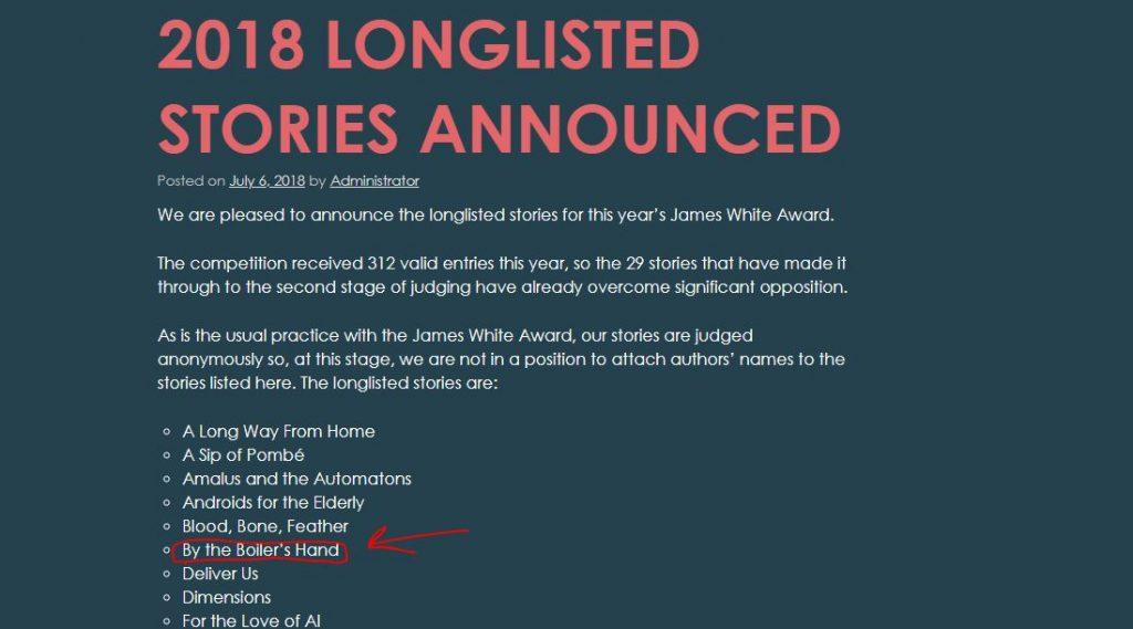 James White Award Longlist