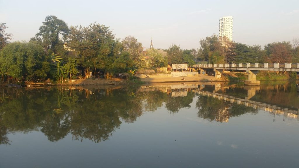 View across the moat in old Chiang Mai