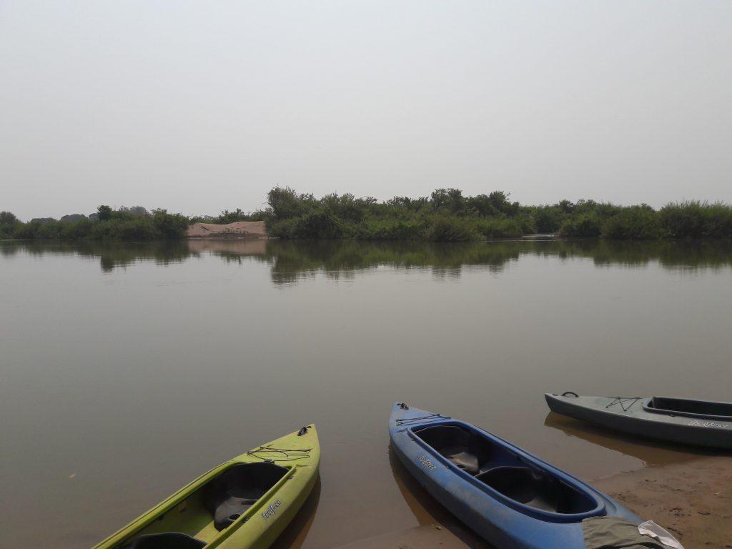 Kayaks on the Mekong